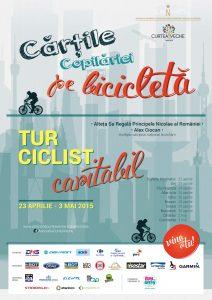 Afis tur ciclist caritabil Cartile copilariei pe bicicleta